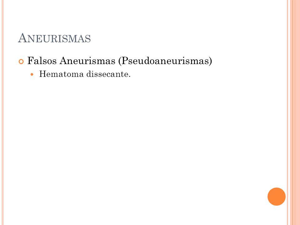 Aneurismas Falsos Aneurismas (Pseudoaneurismas) Hematoma dissecante.