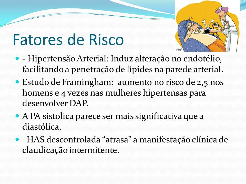 Fatores de Risco - Hipertensão Arterial: Induz alteração no endotélio, facilitando a penetração de lípides na parede arterial.