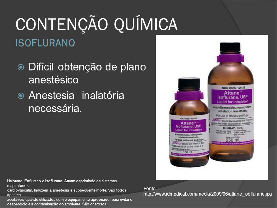 CONTENÇÃO QUÍMICA ISOFLURANO Difícil obtenção de plano anestésico