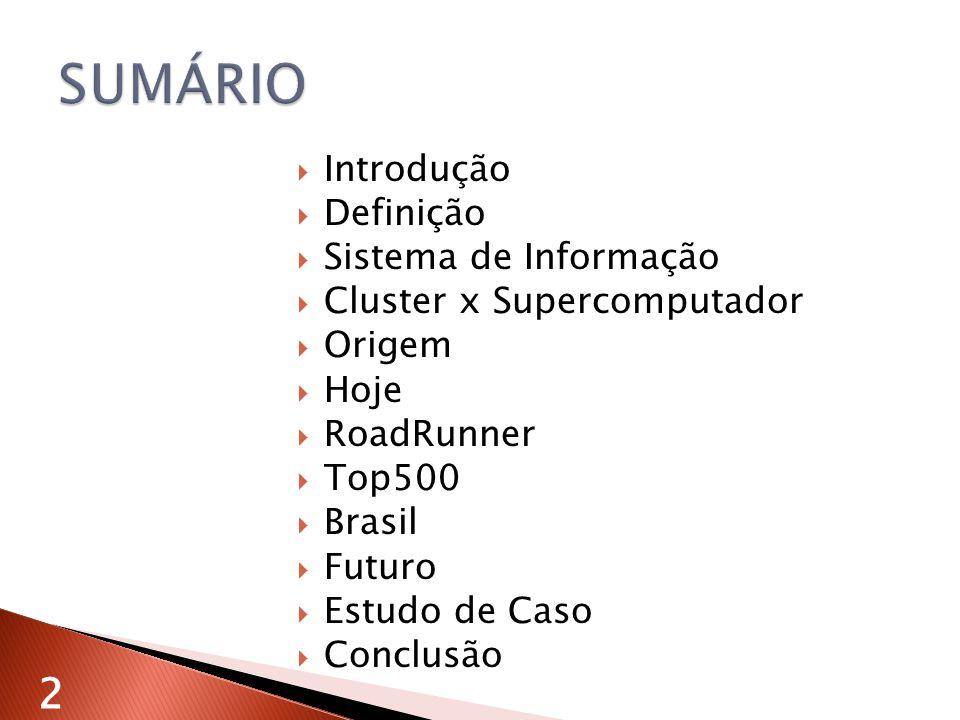 SUMÁRIO 2 Introdução Definição Sistema de Informação
