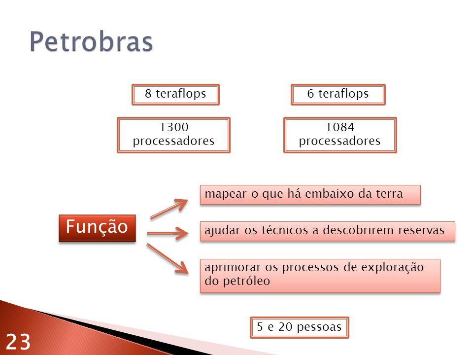 Petrobras 23 Função 8 teraflops 1300 processadores 6 teraflops