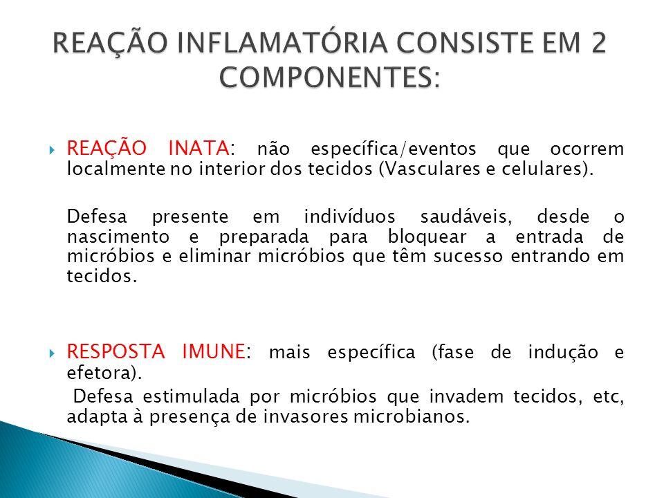 REAÇÃO INFLAMATÓRIA CONSISTE EM 2 COMPONENTES: