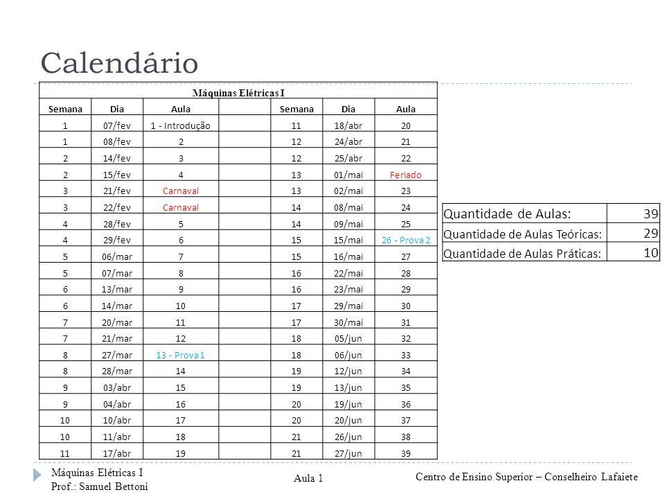 Calendário Quantidade de Aulas: 39 29 10 Quantidade de Aulas Teóricas: