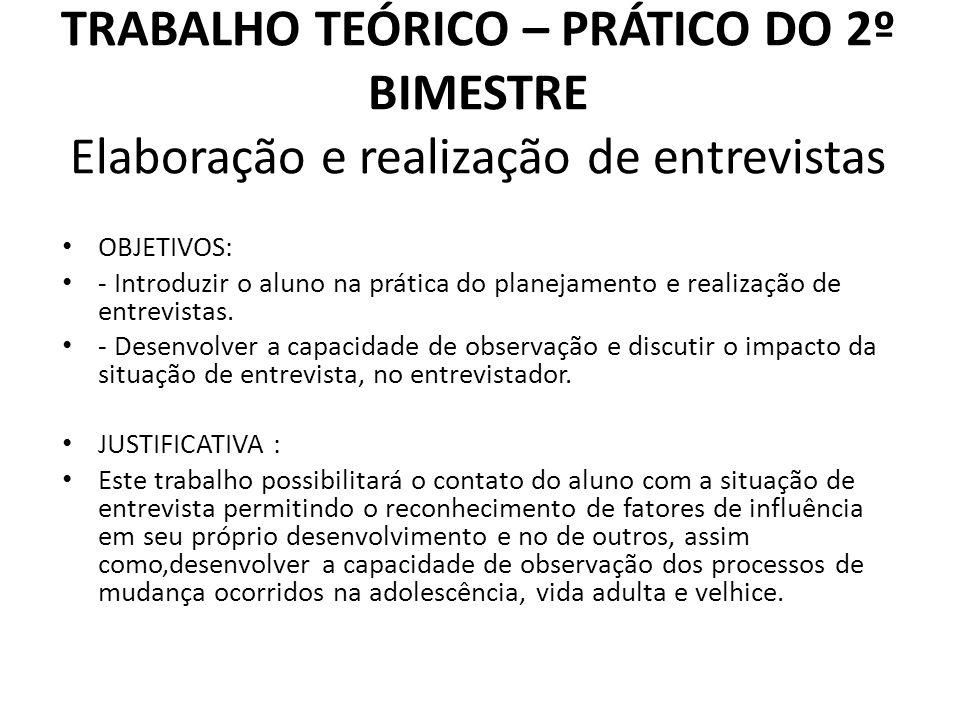 TRABALHO TEÓRICO – PRÁTICO DO 2º BIMESTRE Elaboração e realização de entrevistas
