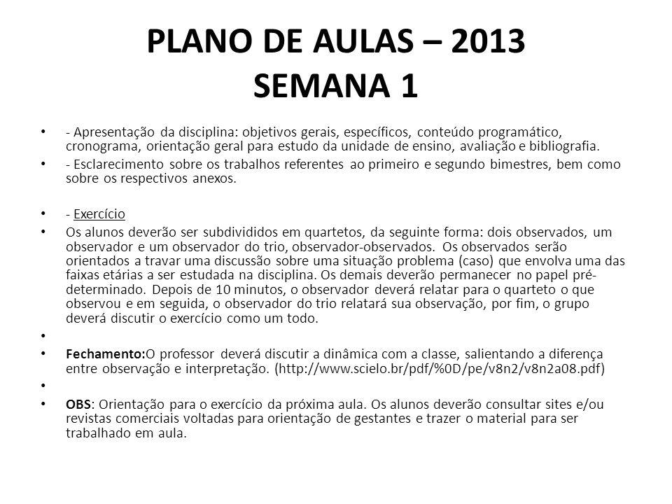 PLANO DE AULAS – 2013 SEMANA 1