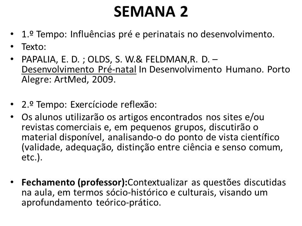 SEMANA 2 1.º Tempo: Influências pré e perinatais no desenvolvimento.