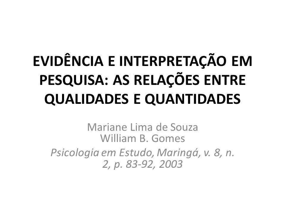 EVIDÊNCIA E INTERPRETAÇÃO EM PESQUISA: AS RELAÇÕES ENTRE QUALIDADES E QUANTIDADES