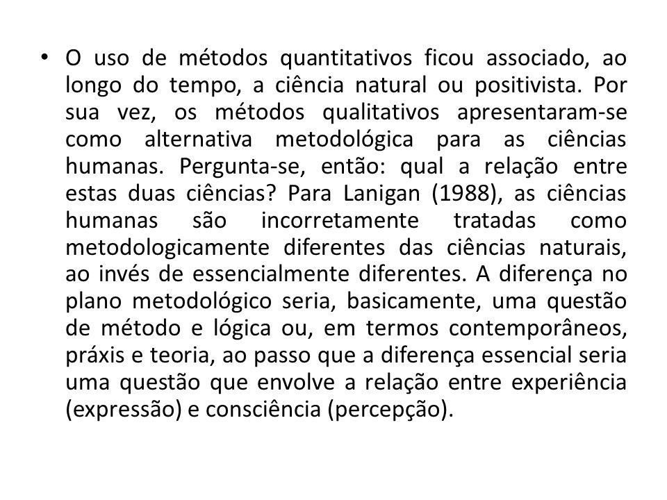 O uso de métodos quantitativos ficou associado, ao longo do tempo, a ciência natural ou positivista.