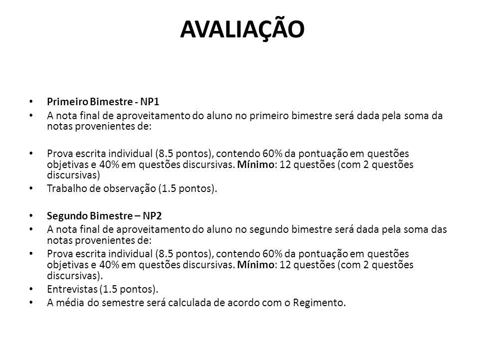 AVALIAÇÃO Primeiro Bimestre - NP1