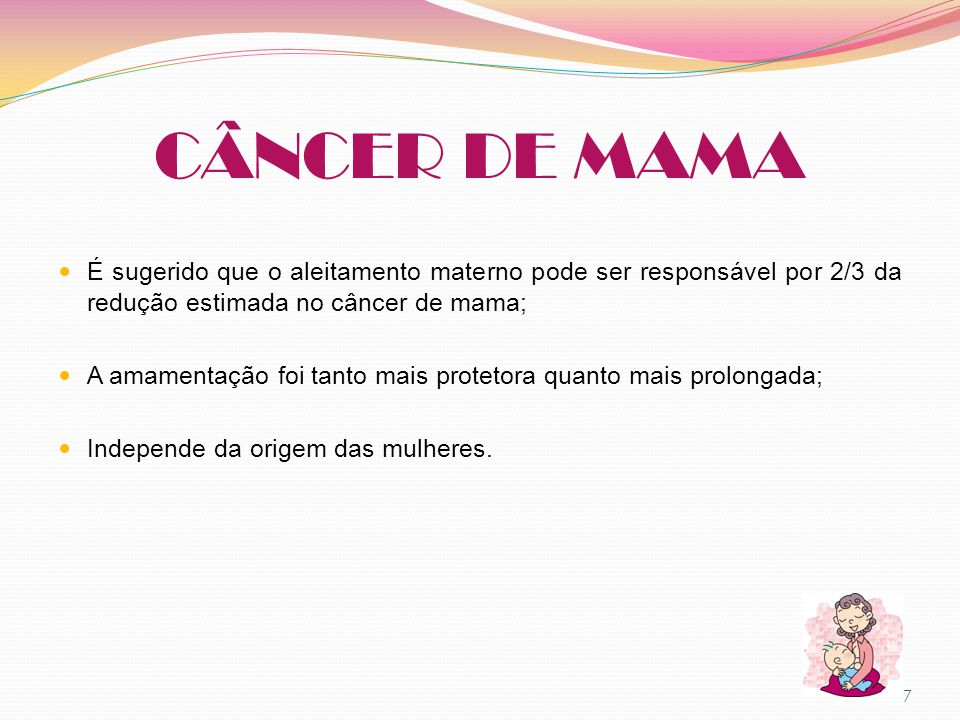 CÂNCER DE MAMA É sugerido que o aleitamento materno pode ser responsável por 2/3 da redução estimada no câncer de mama;