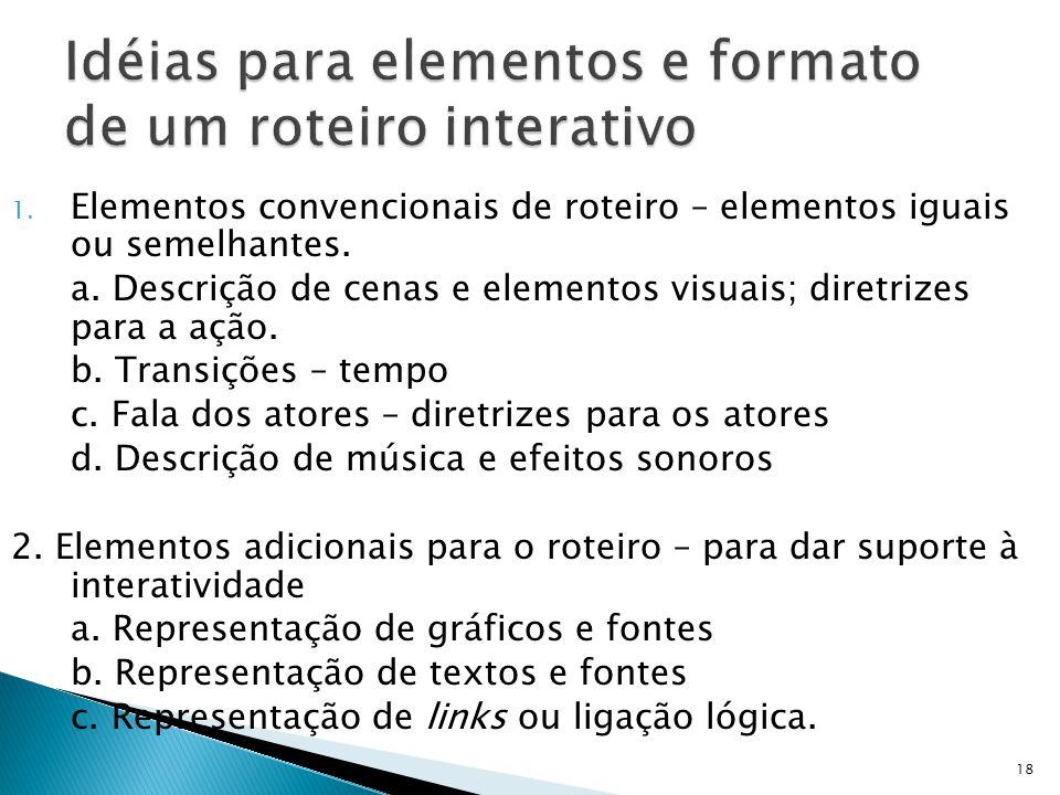 Idéias para elementos e formato de um roteiro interativo