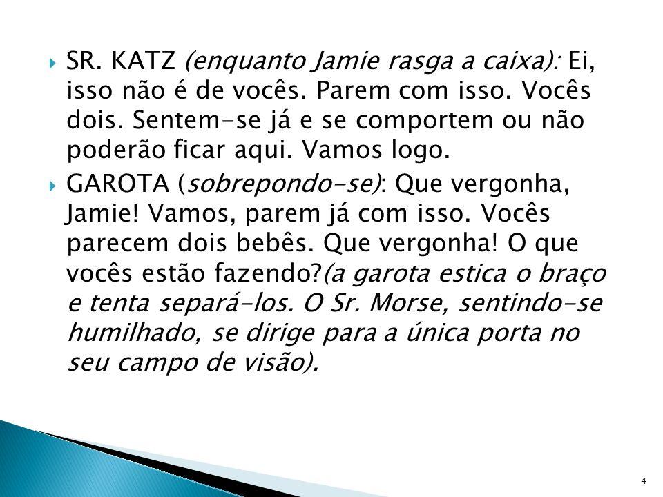 SR. KATZ (enquanto Jamie rasga a caixa): Ei, isso não é de vocês