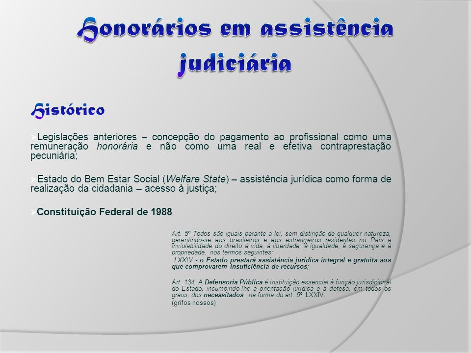 Honorários em assistência judiciária