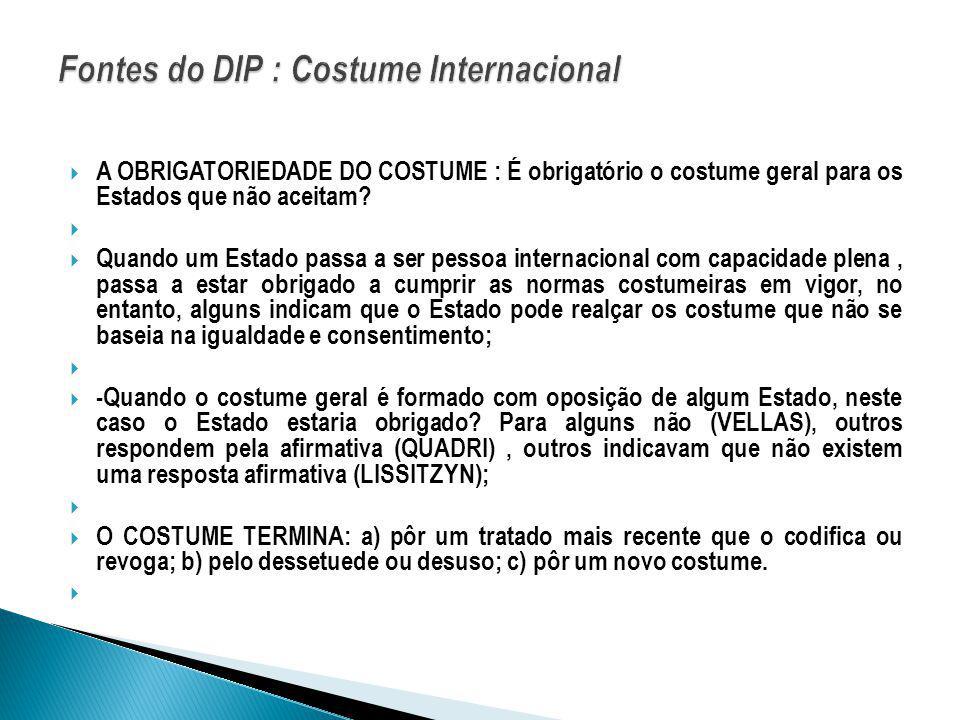 Fontes do DIP : Costume Internacional