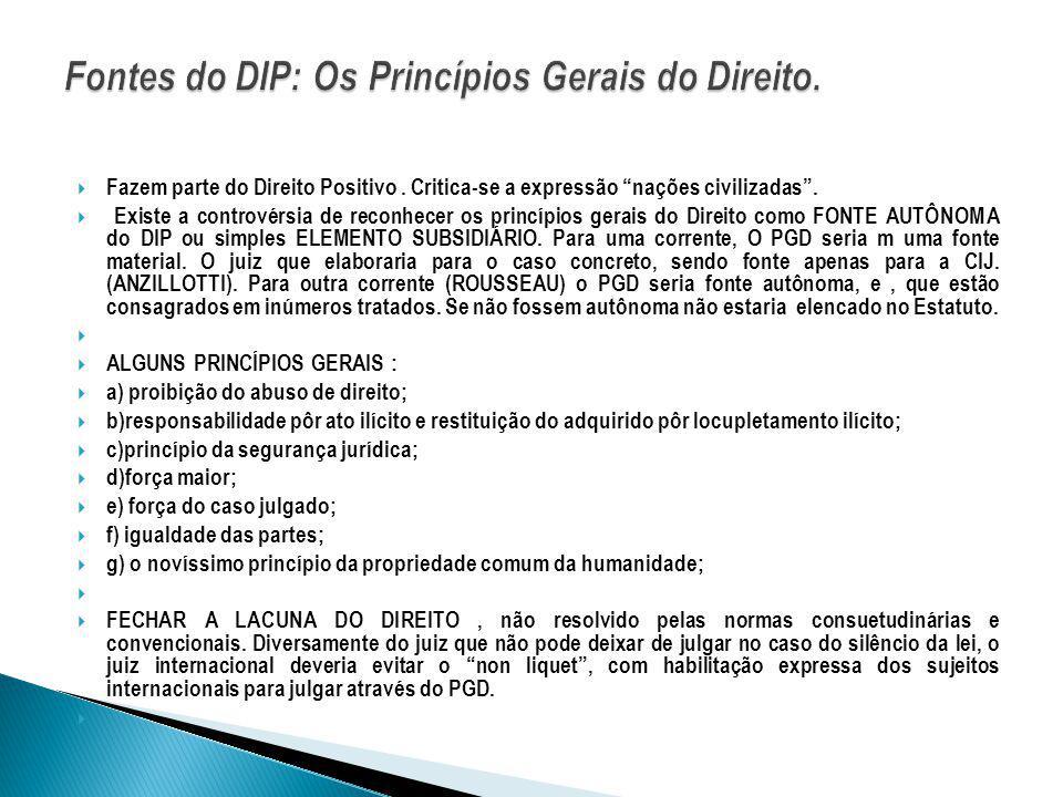 Fontes do DIP: Os Princípios Gerais do Direito.