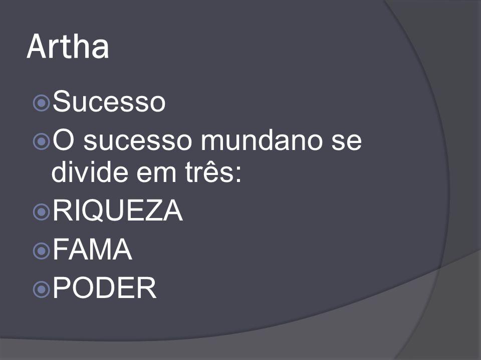 Artha Sucesso O sucesso mundano se divide em três: RIQUEZA FAMA PODER