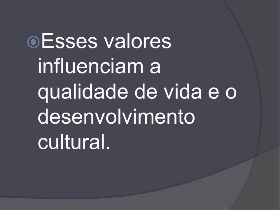Esses valores influenciam a qualidade de vida e o desenvolvimento cultural.