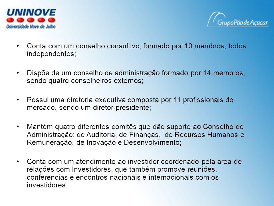Conta com um conselho consultivo, formado por 10 membros, todos independentes;