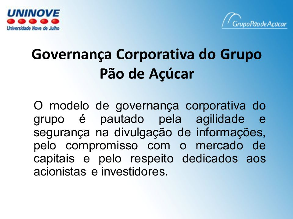 Governança Corporativa do Grupo Pão de Açúcar