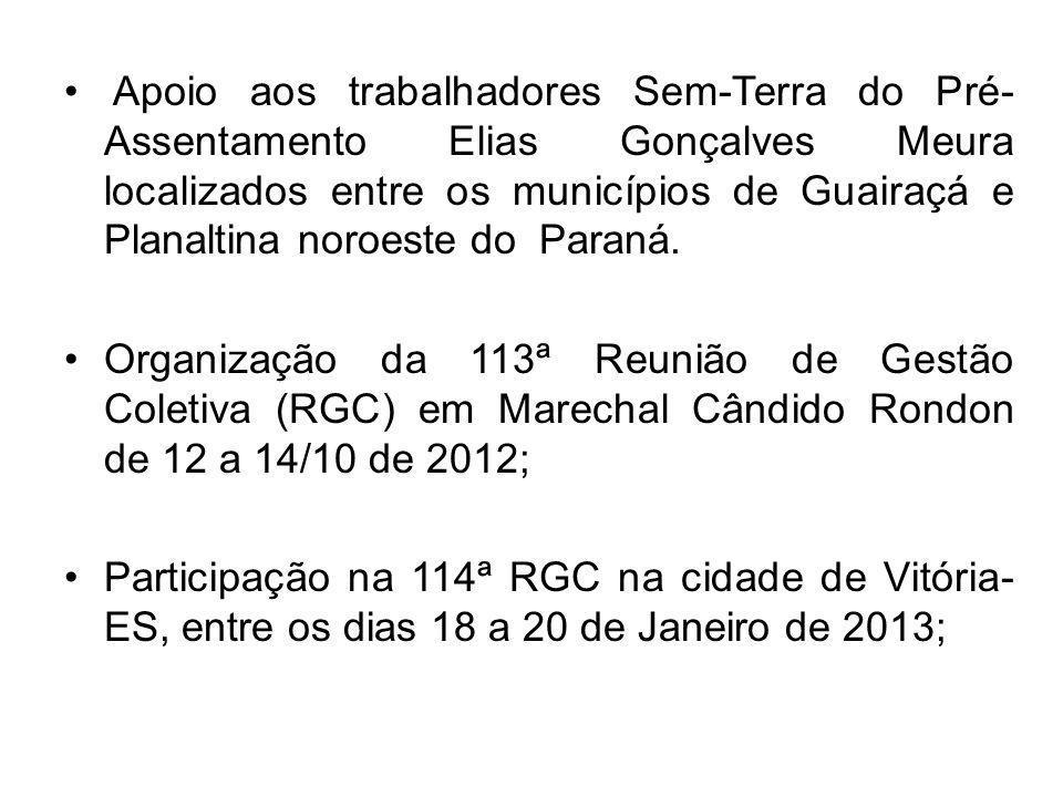 Apoio aos trabalhadores Sem-Terra do Pré-Assentamento Elias Gonçalves Meura localizados entre os municípios de Guairaçá e Planaltina noroeste do Paraná.
