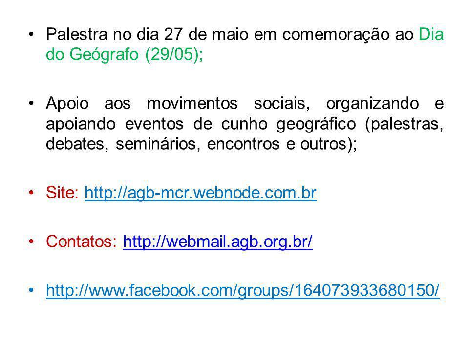 Palestra no dia 27 de maio em comemoração ao Dia do Geógrafo (29/05);