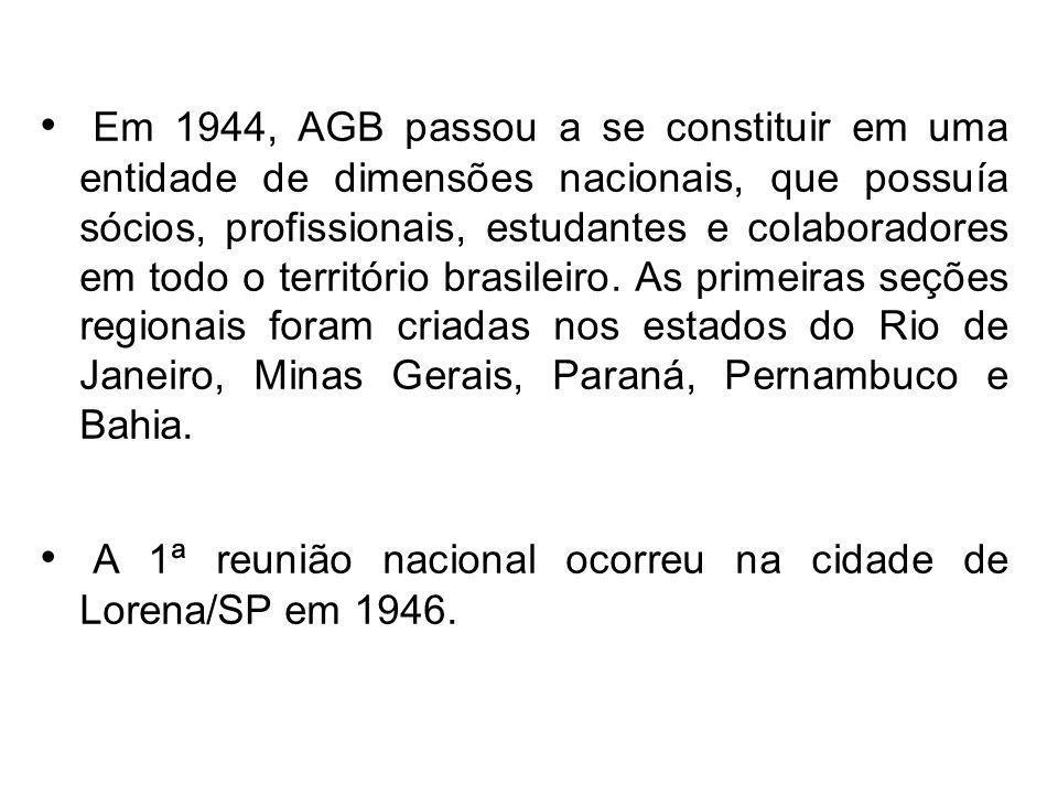 Em 1944, AGB passou a se constituir em uma entidade de dimensões nacionais, que possuía sócios, profissionais, estudantes e colaboradores em todo o território brasileiro. As primeiras seções regionais foram criadas nos estados do Rio de Janeiro, Minas Gerais, Paraná, Pernambuco e Bahia.
