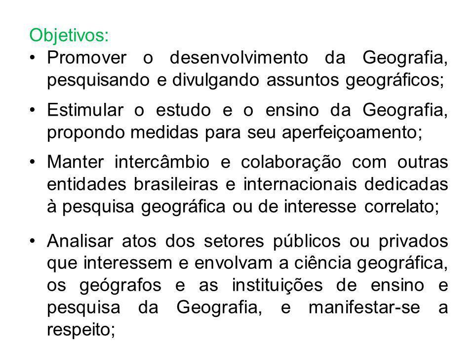 Objetivos: Promover o desenvolvimento da Geografia, pesquisando e divulgando assuntos geográficos;