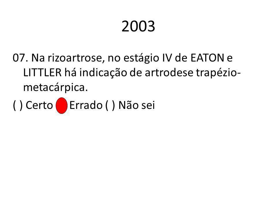 2003 07. Na rizoartrose, no estágio IV de EATON e LITTLER há indicação de artrodese trapézio-metacárpica.