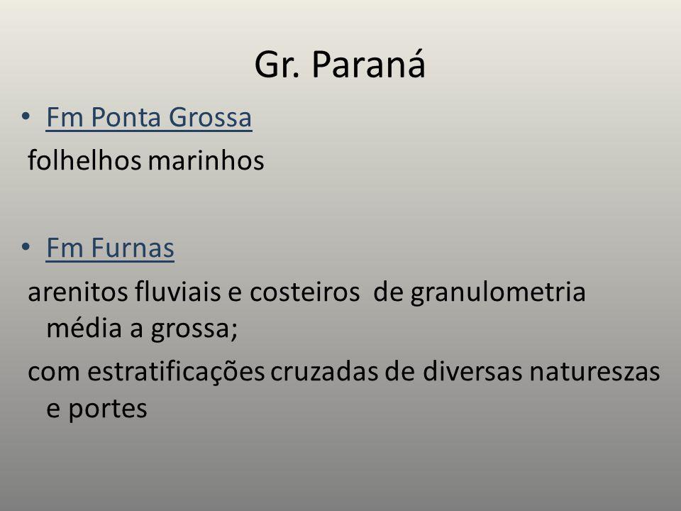 Gr. Paraná Fm Ponta Grossa folhelhos marinhos Fm Furnas