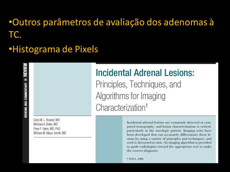 Outros parâmetros de avaliação dos adenomas à TC. Histograma de Pixels