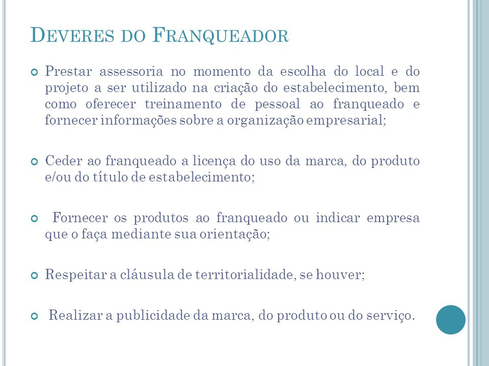 Deveres do Franqueador