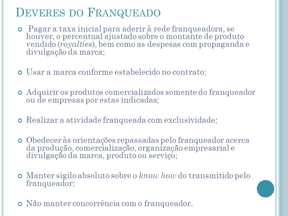 Deveres do Franqueado