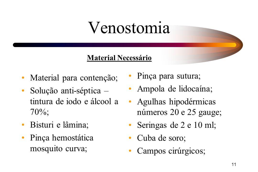 Venostomia Pinça para sutura; Material para contenção;
