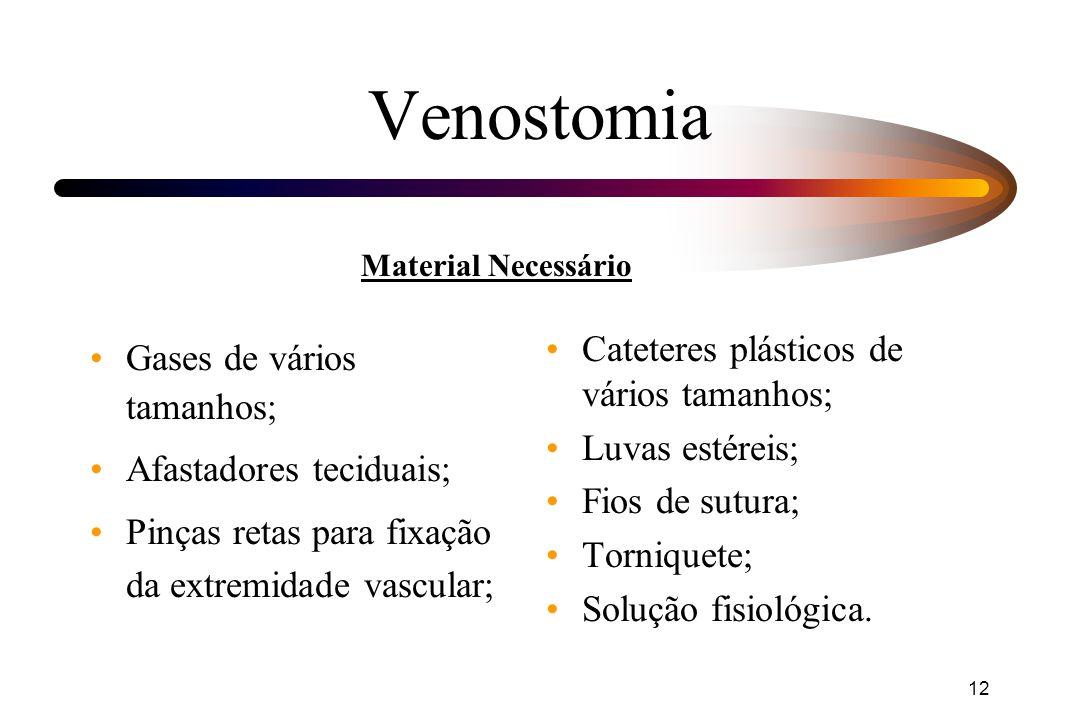 Venostomia Cateteres plásticos de vários tamanhos;