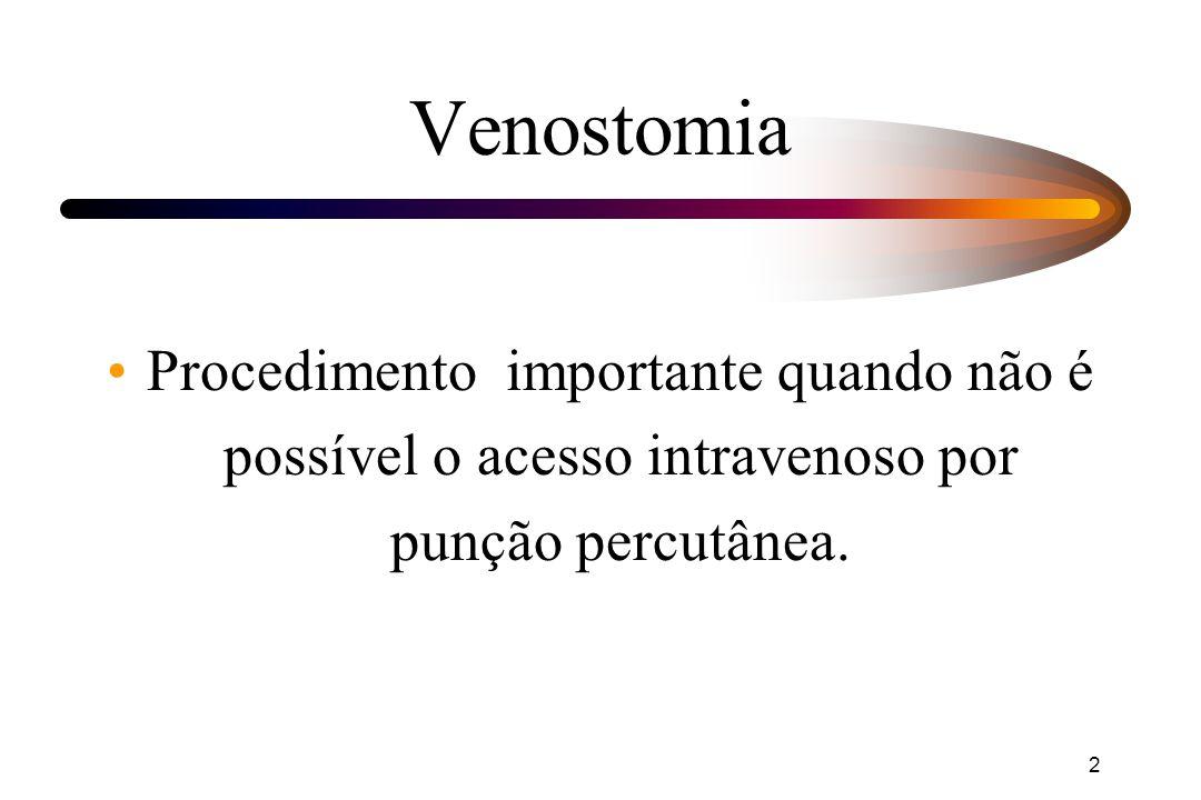 Venostomia Procedimento importante quando não é possível o acesso intravenoso por punção percutânea.