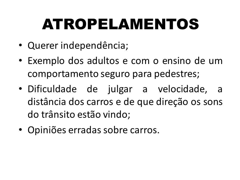 ATROPELAMENTOS Querer independência;