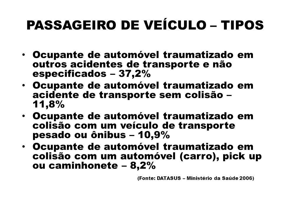 PASSAGEIRO DE VEÍCULO – TIPOS