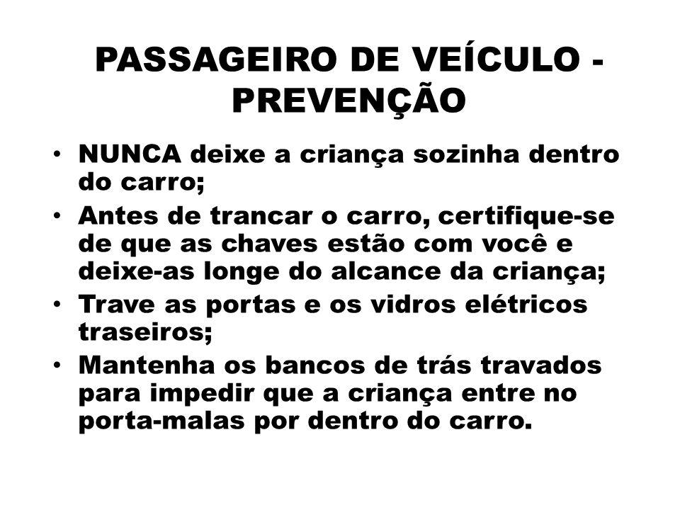 PASSAGEIRO DE VEÍCULO - PREVENÇÃO