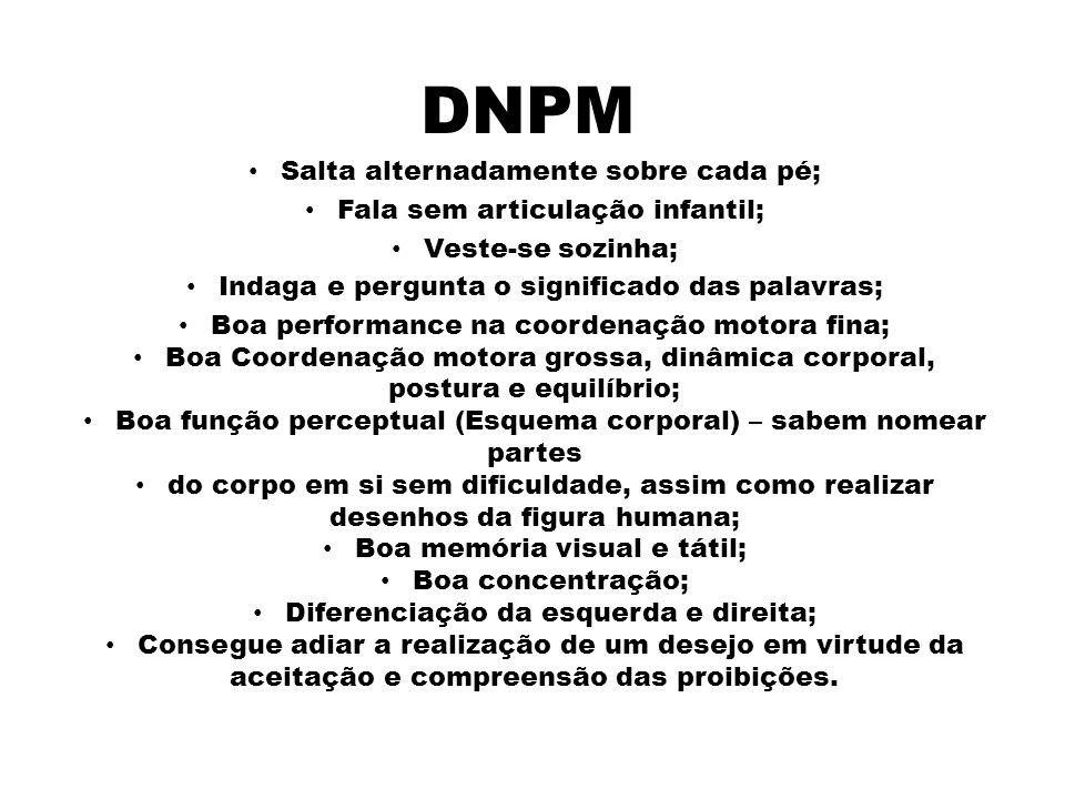 DNPM De 5 a 10 anos Salta alternadamente sobre cada pé;