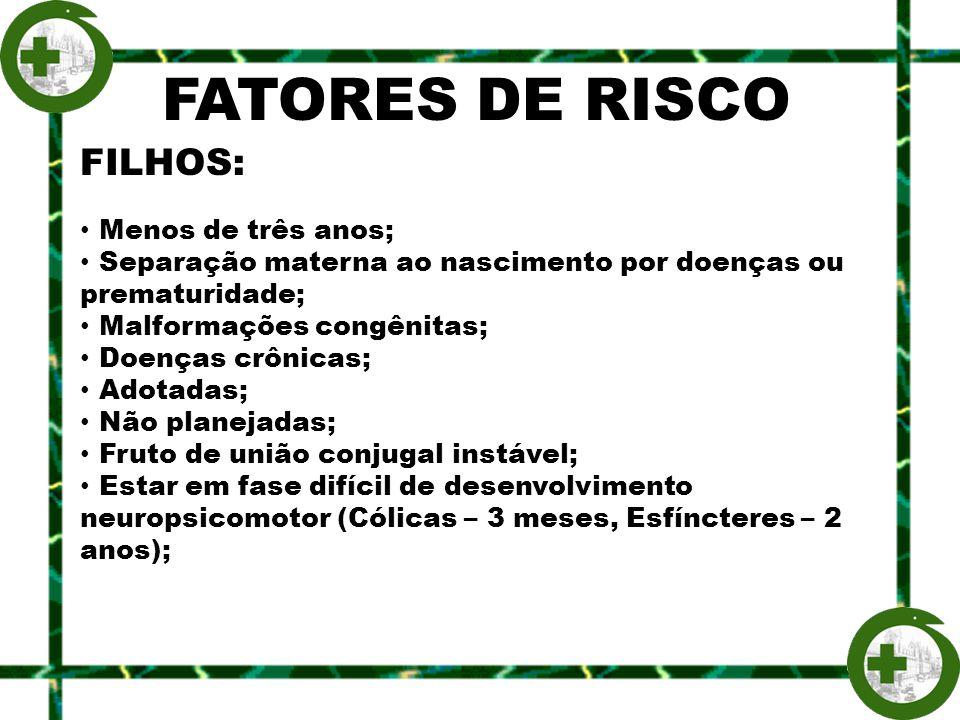 FATORES DE RISCO FILHOS: Menos de três anos;