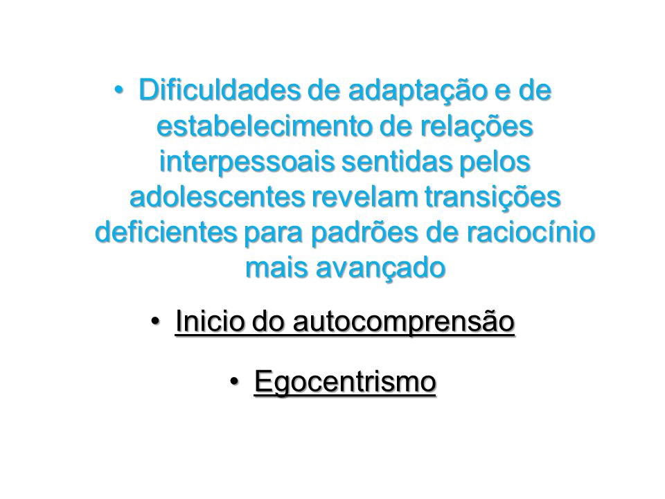 Inicio do autocomprensão