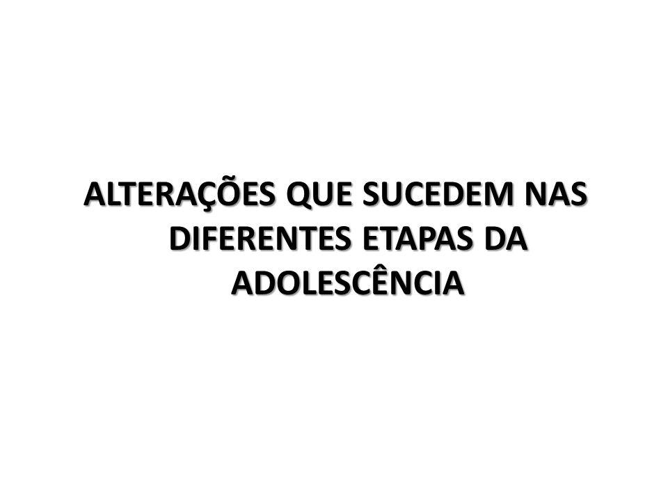 ALTERAÇÕES QUE SUCEDEM NAS DIFERENTES ETAPAS DA ADOLESCÊNCIA
