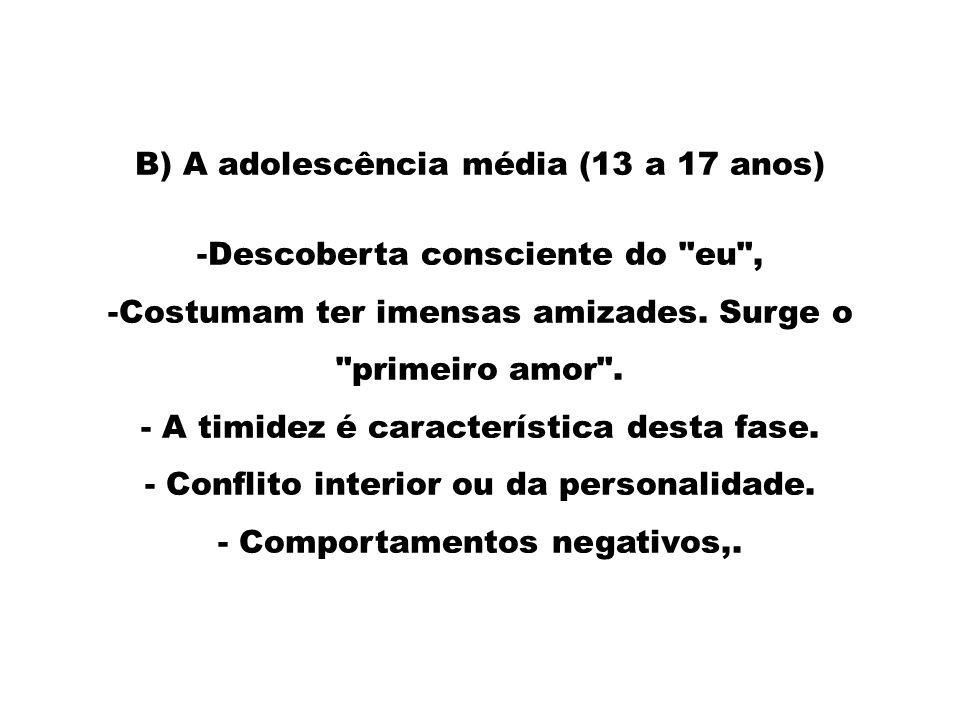 B) A adolescência média (13 a 17 anos) Descoberta consciente do eu ,