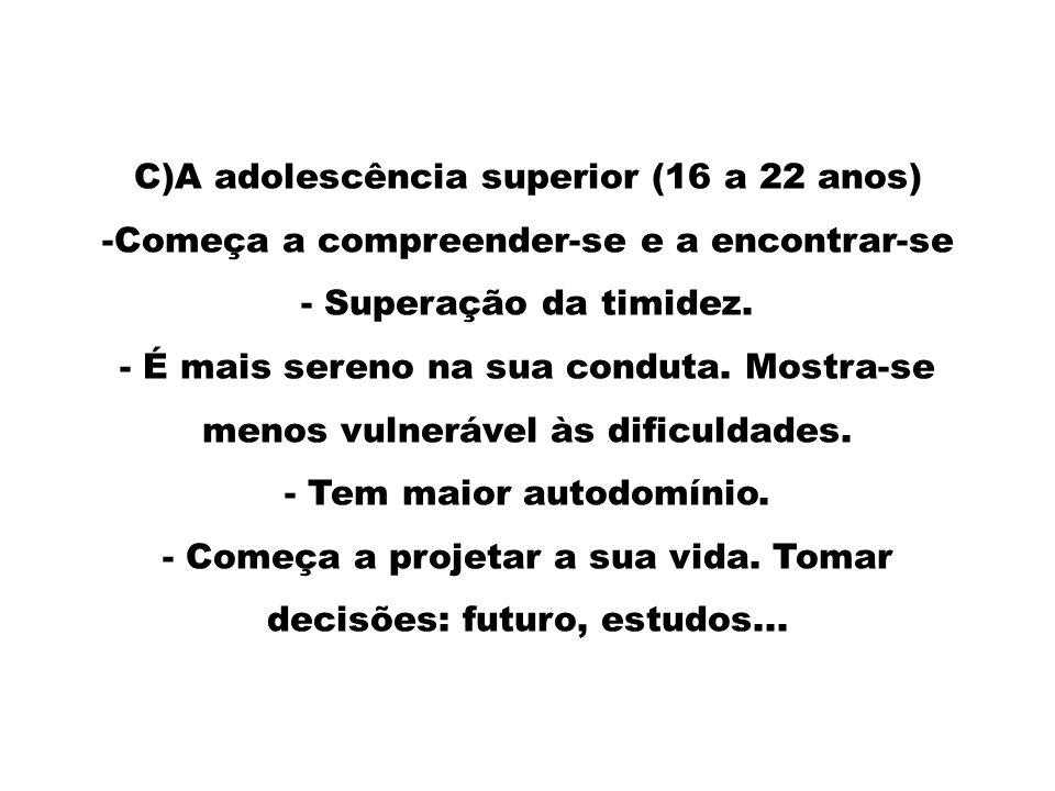 C)A adolescência superior (16 a 22 anos)