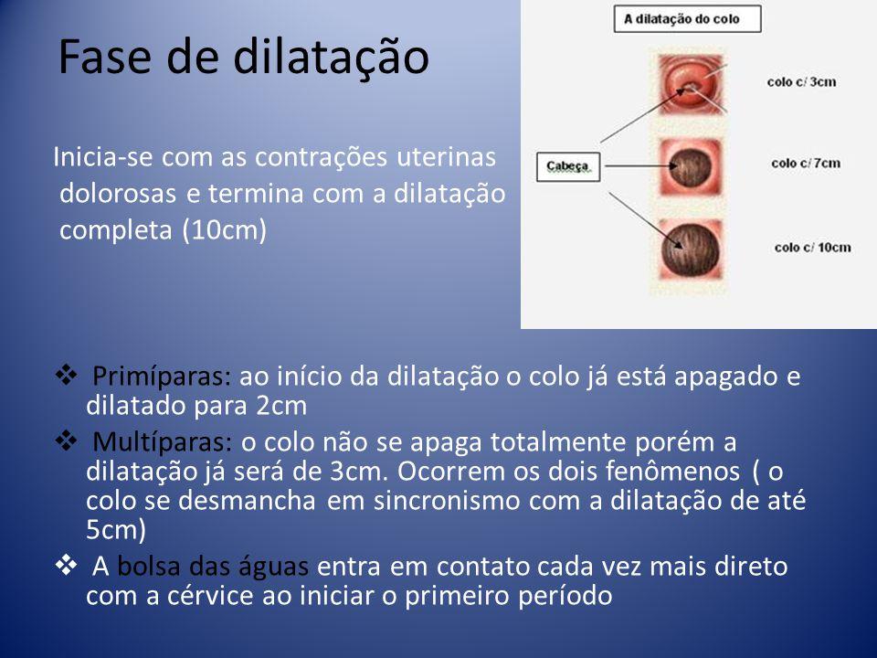 Fase de dilatação Inicia-se com as contrações uterinas
