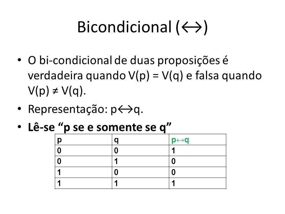 Bicondicional (↔) O bi-condicional de duas proposições é verdadeira quando V(p) = V(q) e falsa quando V(p) ≠ V(q).