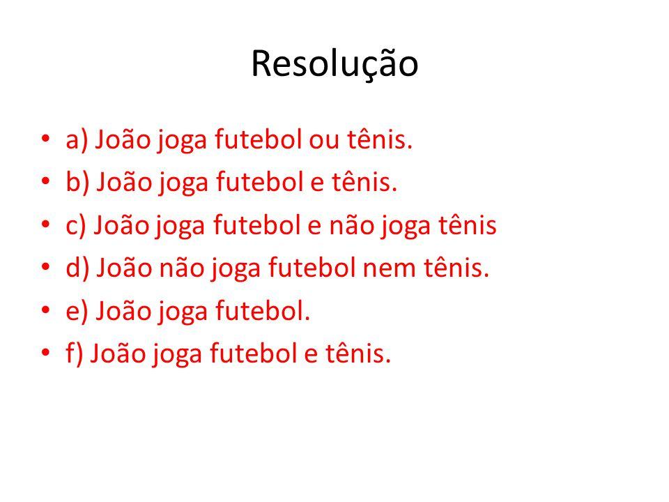 Resolução a) João joga futebol ou tênis. b) João joga futebol e tênis.