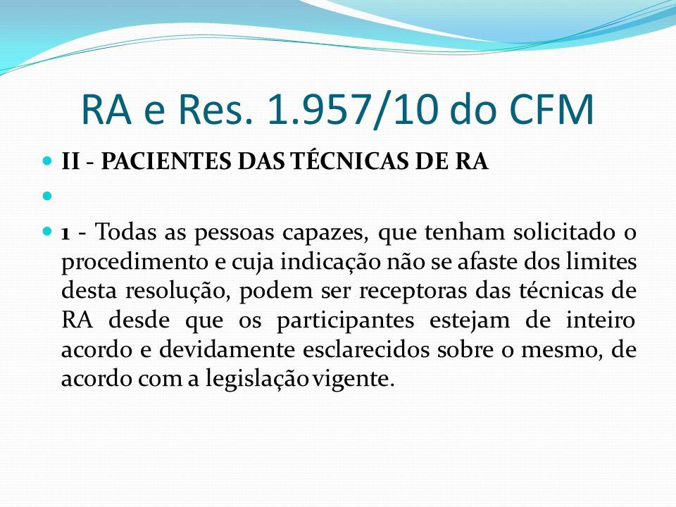 RA e Res. 1.957/10 do CFM II - PACIENTES DAS TÉCNICAS DE RA