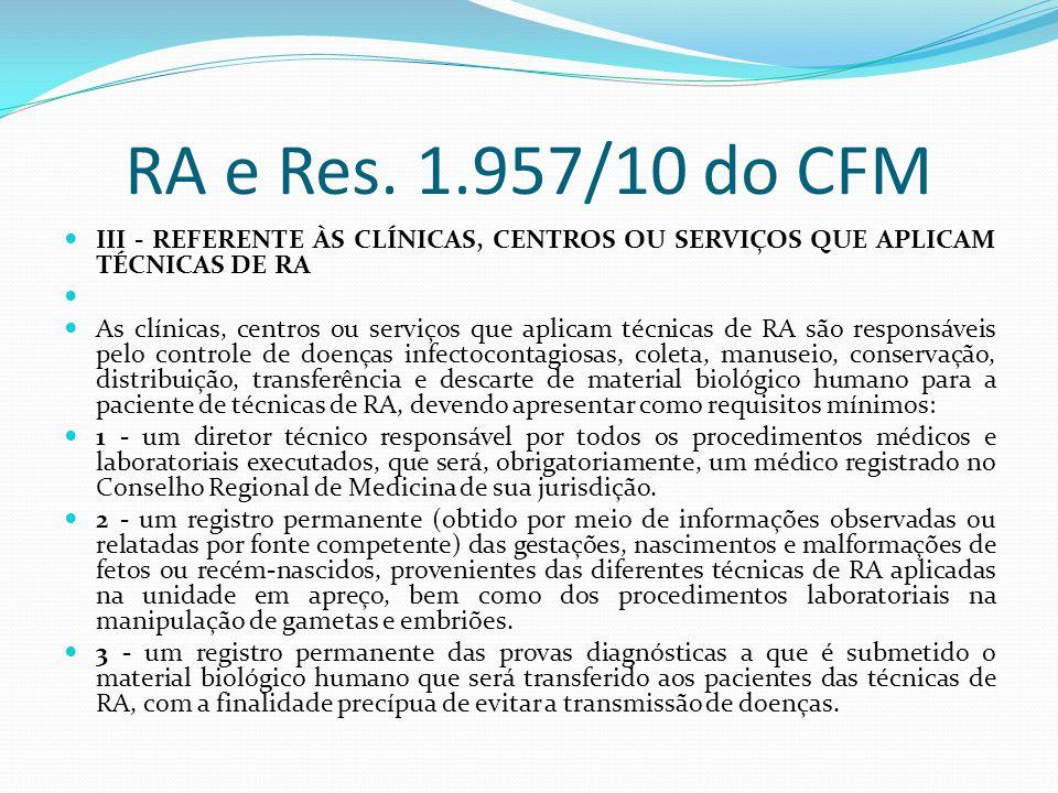 RA e Res. 1.957/10 do CFM III - REFERENTE ÀS CLÍNICAS, CENTROS OU SERVIÇOS QUE APLICAM TÉCNICAS DE RA.