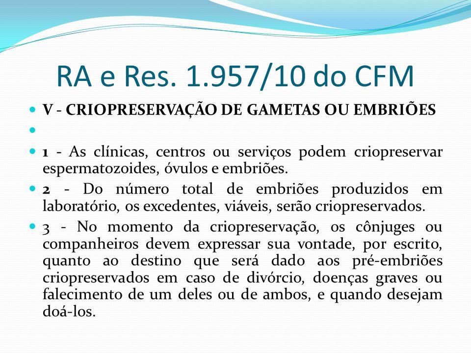 RA e Res. 1.957/10 do CFM V - CRIOPRESERVAÇÃO DE GAMETAS OU EMBRIÕES